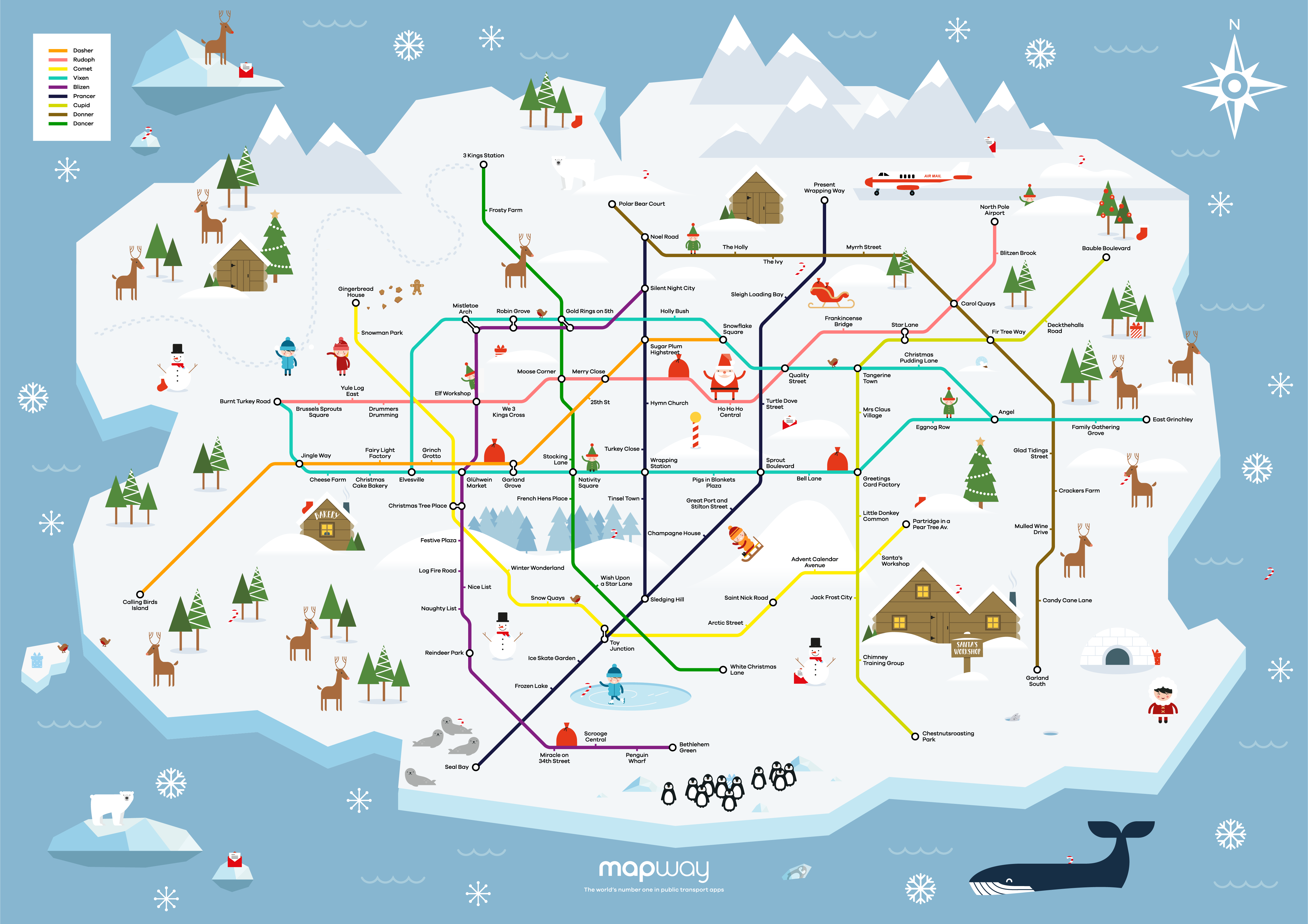 a tube map of the north pole mapway transport apps