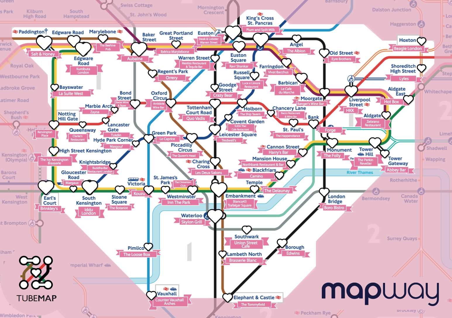 London In A Day Map.London Valentine S Day Hotspots Mapway